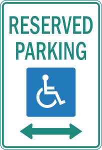 """An accessible parking sign featuring the common blue and white stick figure in a wheelchair. Above the figure is the text, """"Reserved Parking"""" in green capital letters."""
