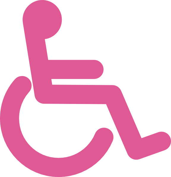 A hot pink stick figure in a wheelchair on a white background.